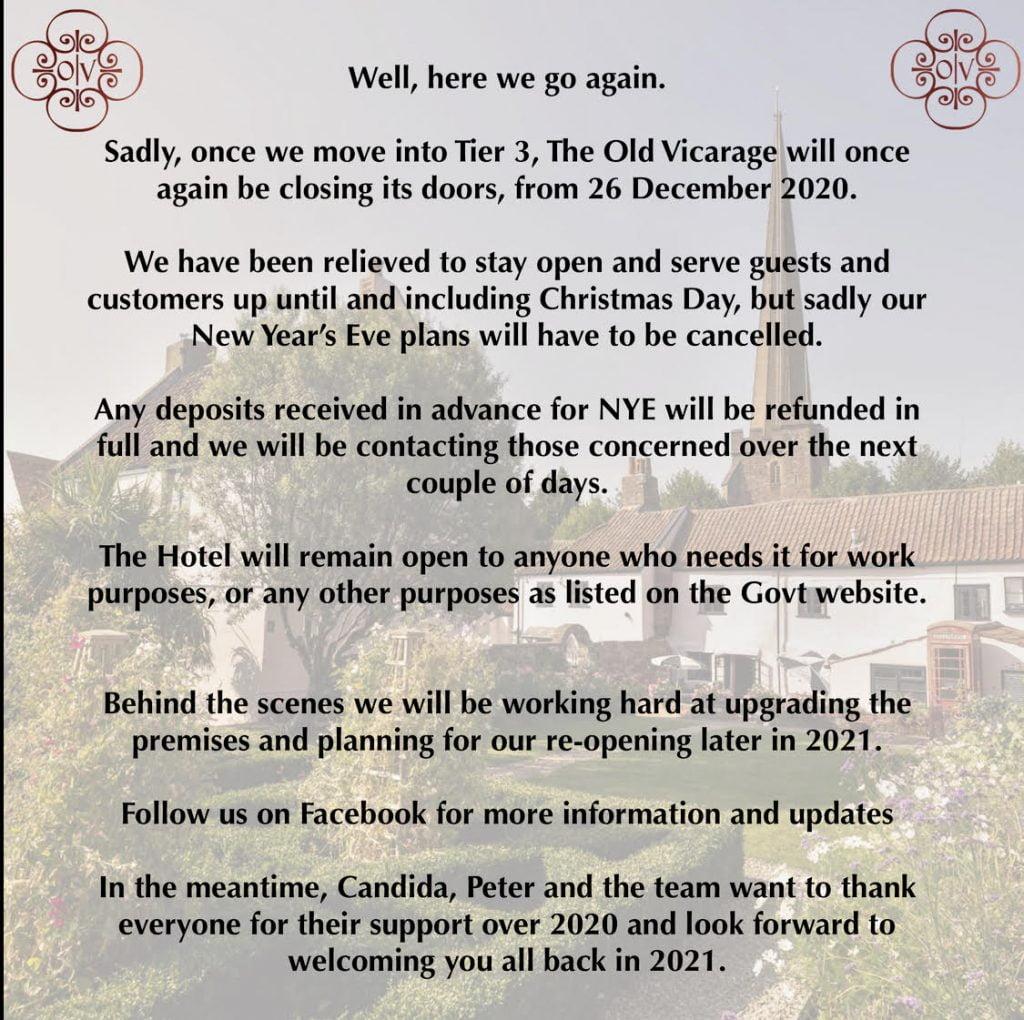 old vicarage covid closure december 2020